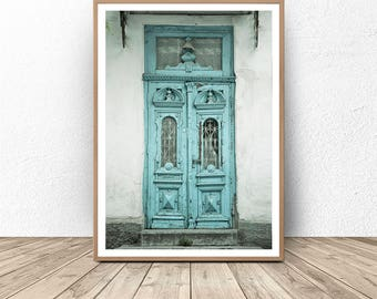 Blue Door Photography, Vintage Photography, Rustic Decor, Travel Photography, Farm House, Architecture Print, Old Rustic Door, Teal door