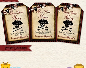 Pirate Party Favor Tags  • Pirate Party  • Pirate Map • Ocean • Summer • Fourth Birthday • Fifth Birthday • Treat Bags  • Goodie Bags 031a