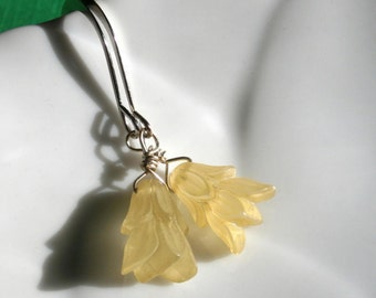 Frosted Pale Yellow German Lucite Floral Bead Earrings With Large Round Modern Silver Hooks