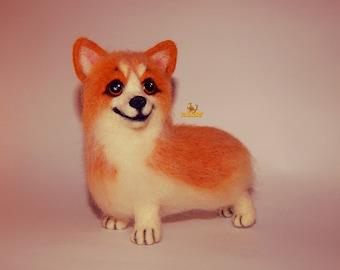 Corgi pet portrait Felt dog Welsh Corgi, Christmas gift, needle felted animal, pet portrait, Dog memorials, needle felted dog, Corgi Dog