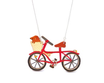 Hand Painted Dog in a Bike Basket Necklace Red. Laser cut, wooden, illustration jewellery. Cute, bright, colourful fun animal unique jewelry