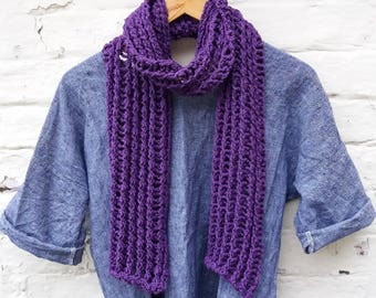 SAXIFRAGE Scarf - Pure Cotton Cabled Scarf - Ready to Ship
