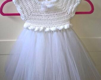 Crochet Tutu dress crochet baby girl dress photo shoot gift Christmas Christening Newborn Tutu baby shower