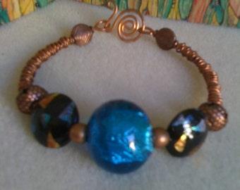 Copper and blue glass bracelet