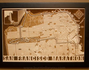 San Francisco Marathon Laser Engraved Map