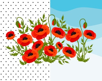 Poppy Flowers Vector Illustration with 2 Digital Papers, Poppy Flowers Clip Art