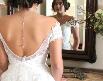 Bridal backdrop necklace, Crystal Back drop necklace, Bridal jewelry, Wedding necklace, Bridal necklace, Bridesmaids jewelry, Rose gold