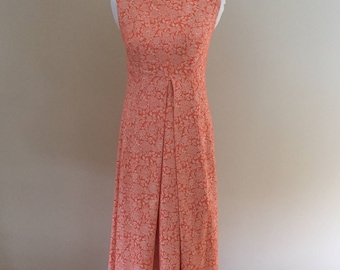1960's Vintage Sleeveless Melon/Cream Floral Gown