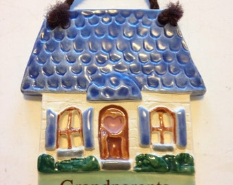 """Vintage 1994 """"Grandparents Are Special"""" Ceramic Plaque by Stony Mountain Pottery"""