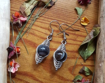 Black Quartz Agate Crystal Herring Bone Wire Wrapped Dangle Earrings