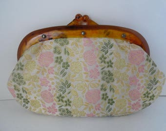Vintage TAPESTRY CLUTCH BAG|Small Cosmetic Bag|Lucite Kiss Clasp Clutch Purse|Pink Yellow Mint Green Purse