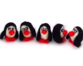 felt penguins, 5 needle felted tiny penguin decorations, wool felt animals black and white