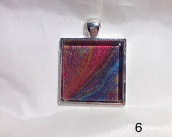 Hand-Made Paint Pouring Beautiful Square Pendant Reds, Blues, Purple, Orange
