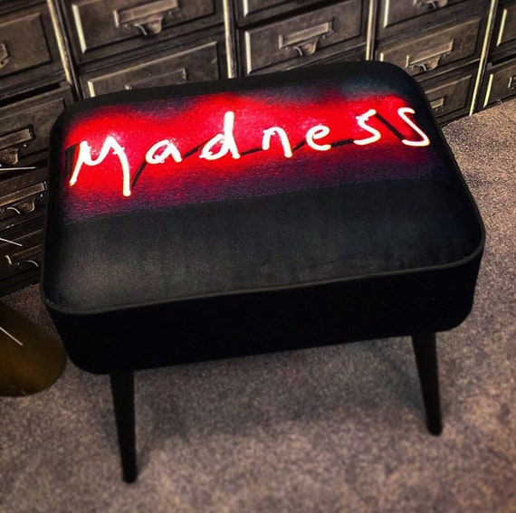 Madness red neon contemporary stool by Rebecca Mason limited addition 1/50