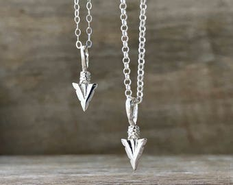 Arrow Necklace Sterling Silver, Arrowhead Necklace Mens, Silver Necklace Men, Valentines Day Gift, Mens Jewelry, Tribal Necklace, Mens Gift