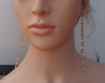 Gold earrings, long earrings, dangle earrings, glass earrings, elegant earrings, festive earrings, party earrings