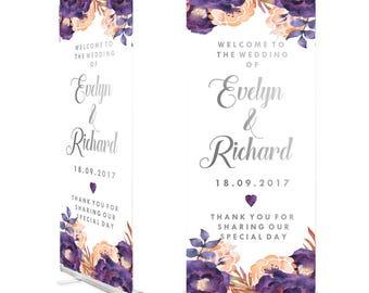 Purple Floral Wedding Roller Banner