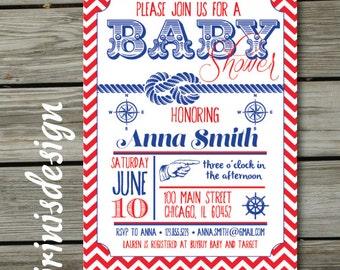 Nautical Navy Blue Baby Shower Invitation or Birthday Party | Vintage Retro | Chevron Marine Sea | 116