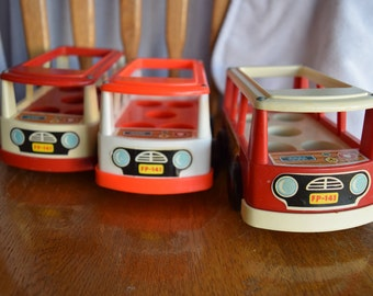 Vintage 1969 Fisher Price Little People Mini Bus and Mini Van Lot of 3 Plastic Wooden Toys Children's Child 1960s Nostalgia Cars
