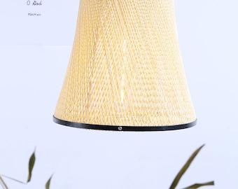 Arturest Natural Rattan Ceiling Lighting, Creative Hat Shape Pendant Lights, Handmade Wicker  Lamp Shade, Home Decoration Woven Chandelier