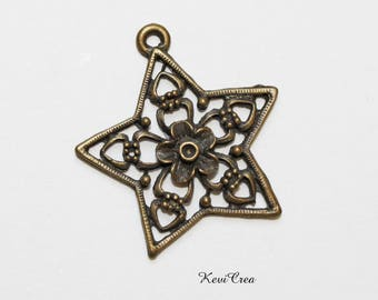2 x charm bronze star