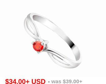 Twist Ring Garnet Engagement Ring Garnet Promise Ring for Her Garnet Wedding Ring Solitaire Ring Small Stacking Ring January Birthstone Ring