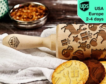 Christmas - laser engraved rolling pin, embossing rolling pin