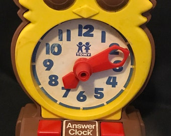 Vintage Owl Clock Learning Toy by Tomy Vintage Toy SALE PRICE was 15.00 now 8.99