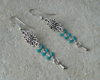 Earrings chains enamel turquoise spikes