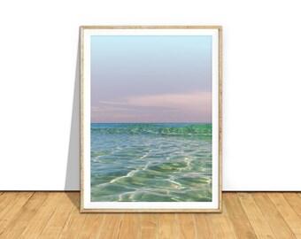 Ocean Waves Photography Art, Coastal Decor Ocean Photo Printable Download, Ocean Water Sunset Art Print, Coastal Art, Ocean Poster, o1c2c