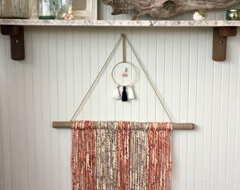 Rust-Gray & Gems Yarn Wall Hanging