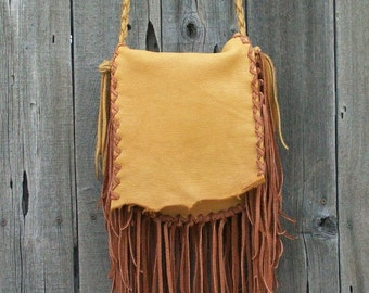 Fringed leather handbag , Fringed gypsy bag , Fringed leather purse , Leather handbag with fringe
