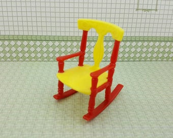 Renwal Rocking Chair Baby Nursery Doll House Toy Yellow and  Red Rocker