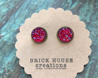 Raspberry Sparkle Druzy Earrings