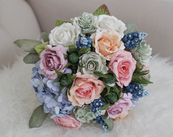 Bespoke Paper Bridal Bouquet - Rose and Hyacinth , Alternative Wedding, Diameter 9 inches