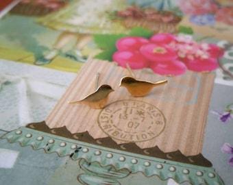 Birds stud earrings, Gold birds earrings, Gold bird stud earrings, Birds earrings, Gold stud earrings, Gold filled earrings, Dove studs