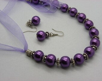 set of 12 mm glass beads with purple organza with earrings