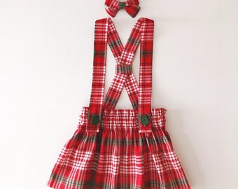Danica Suspender Skirt (baby and toddler Christmas plaid suspender skirt)