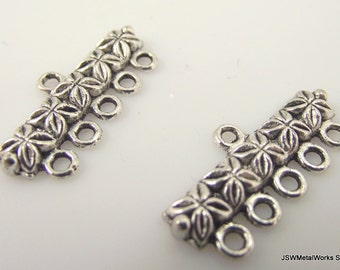 4 Pewter Multi Strand Connector Beads 5 to 1 5-1, Pewter Links, 26 x 13 mm