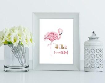Flamingo PRINTABLE ART, Tropical Decor,Pink & Gold Wall Art,Nurery Wall Art,Bird Print, Hello Beautiful Quote,