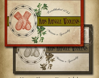 Vintage Christmas Mitten Labels Printable Digital Download