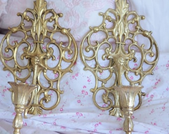 Ornate Metal Gold Sconces