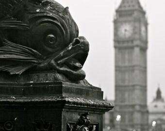 London Photography - Big Ben Print - Southbank - Black and White
