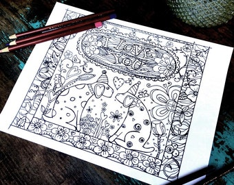 I LOVE You Adult Coloring Page -Dogs/Hearts/Flowers-Lisa Kaus