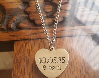 Personalised Anniversary/Wedding Date & Couples Initials Brass Gold Heart Pendant Necklace ~ Handmade Hand Stamped Jewellery Jewelry Gift