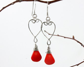Red Bamboo Coral Earrings, Sterling Silver wire wrap, red gemstone, hand-forged artisan earrings, dangle, statement, gift for her,3373