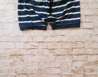 Organic Bamboo Harem Shorts Navy & Gray Stripes