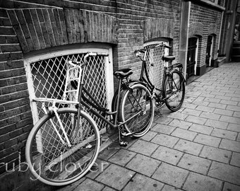 Amsterdam Bicycles, Pair of Bikes, Netherlands Photo, Amsterdam Street, Bikes for Lovers, Two Bikes, Dutch Decor,Old Red Bicycle, City Bikes