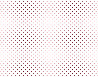 Red Polka Dot Fabric - Riley Blake Swiss Dots Le Creme Quilt Fabric - Red and Cream Polka Dot Fabric By The 1/2 Yard