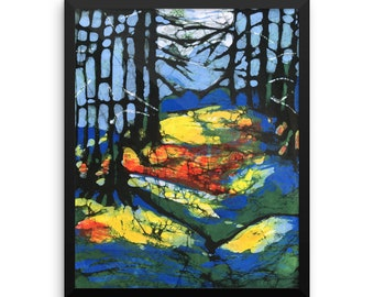 Framed Poster Print of Batik Moonlight In The Rainbow Woods (many sizes available)